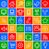 Technology and internet vector icon set in color