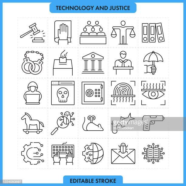 ilustrações de stock, clip art, desenhos animados e ícones de technology and justice editable stroke - legal system