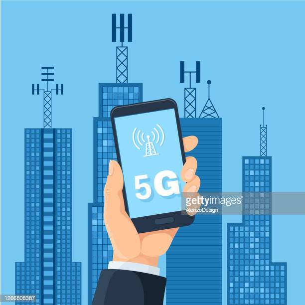 5g technology and smart city - tower stock illustrations
