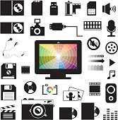 technology and storage icons set