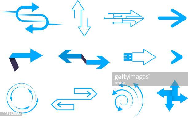 technology arrows - two lane highway stock illustrations