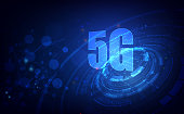 5G technology background. Digital data as digits connected each other and form symbol 5G New generation internet . vector illustration