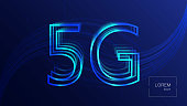 5G technology background. Digital data background. New generation mobile networks.