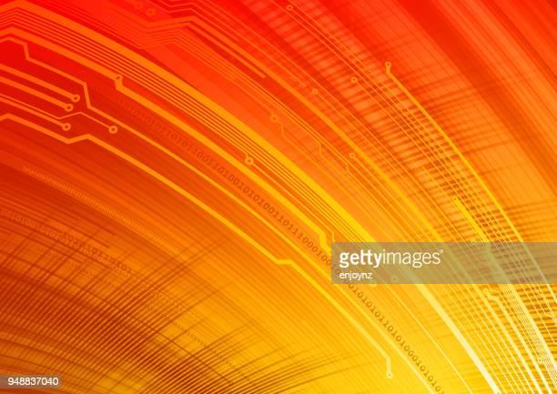 technology background - orange background stock illustrations