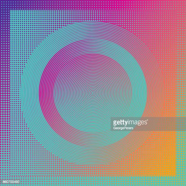technology background with concentric circles and half tone pattern - optical illusion stock illustrations