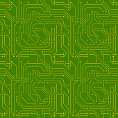 Technology background with golden microchip on green motherboard seamless pattern