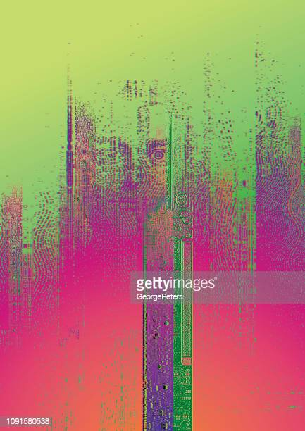 Technology background with male cyborg and glitch technique