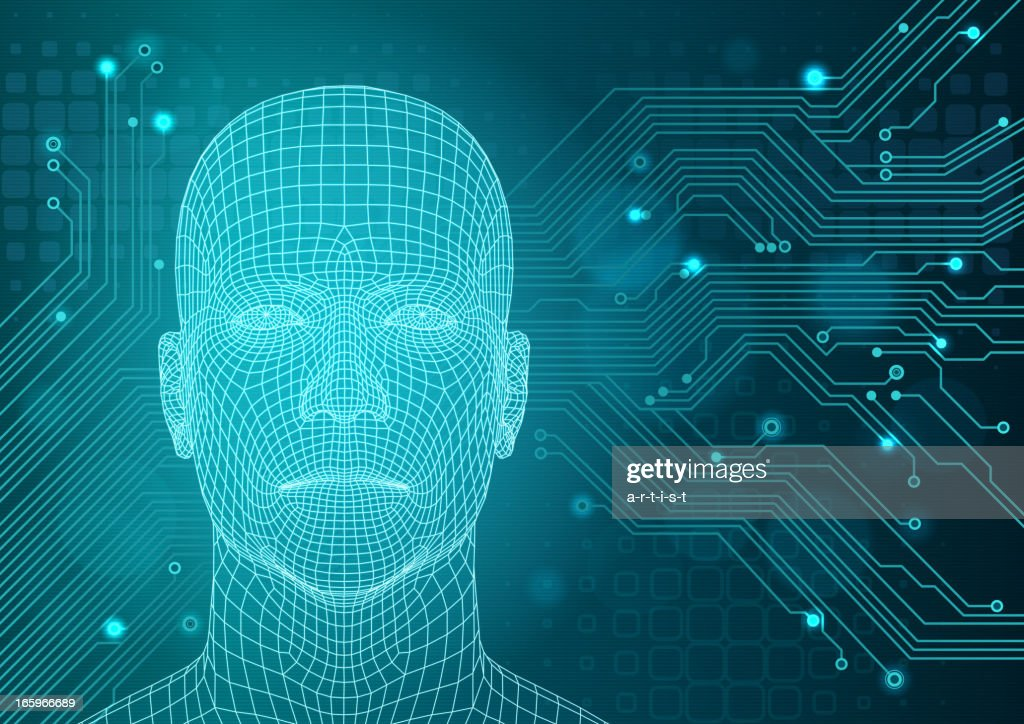 Technology background with three-dimensional head