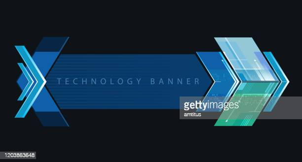 technology banner - chevron road sign stock illustrations