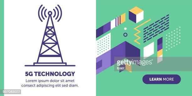 5g technology banner - antenna aerial stock illustrations, clip art, cartoons, & icons