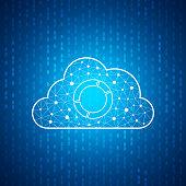Technology cloud icon , Blue speed digital pattern , matrix background