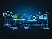 Technology communication city network background. vector illustration.