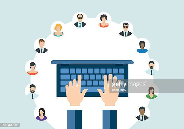 technology communication networking webinar concept - web conference stock illustrations