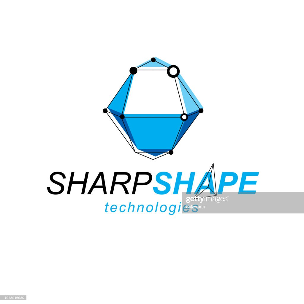 Technology conceptual symbol. Abstract vector geometric form, 3D shape science theme illustration.