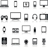 Technology devices and multimedia gadgets icons with reflection