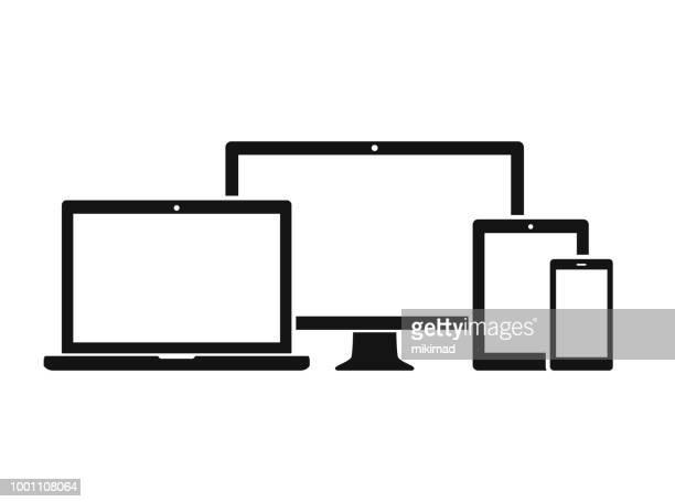 stockillustraties, clipart, cartoons en iconen met technologie apparaten pictogramserie - tablet pc