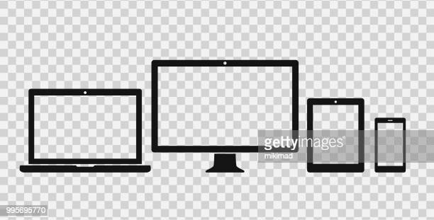 stockillustraties, clipart, cartoons en iconen met technologie apparaten pictogramserie - tablet pc