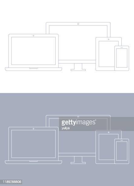 illustrazioni stock, clip art, cartoni animati e icone di tendenza di dispositivi tecnologici; laptop, monitor del computer, tv, tablet, smartphone, set di icone wireframe in colore grigio e bianco - modalità wire frame