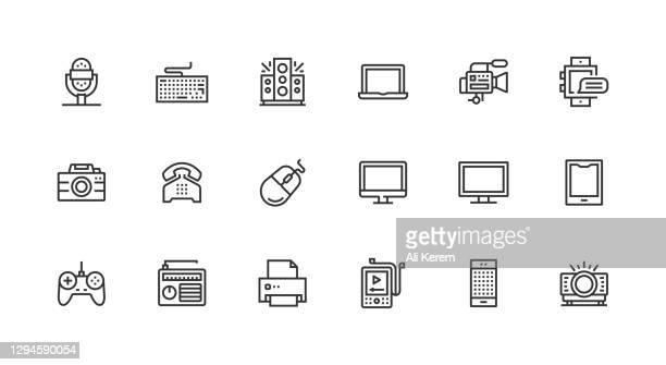 技術, デバイス, 電話, コンピュータ, スマートデバイスアイコン. - 薄い点のイラスト素材/クリップアート素材/マンガ素材/アイコン素材