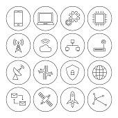 Technology digital thin line icon set vector illustration