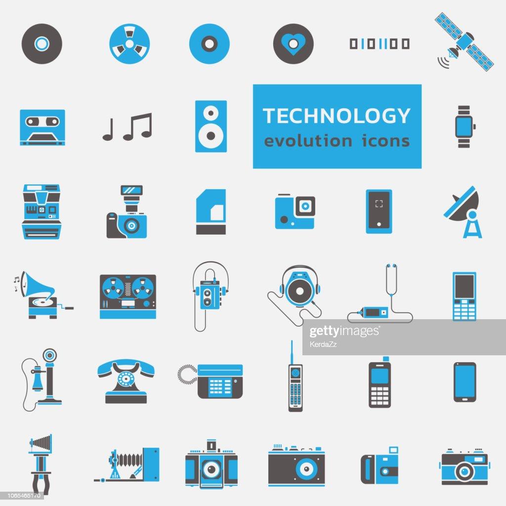 Technology evolution icon set