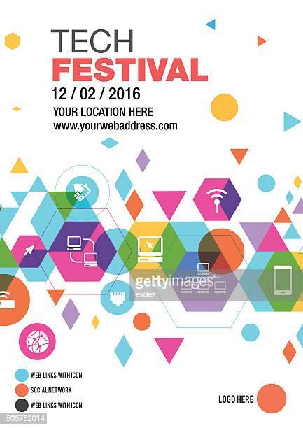 ilustrações, clipart, desenhos animados e ícones de design de poster tecnologia fest - festival tradicional