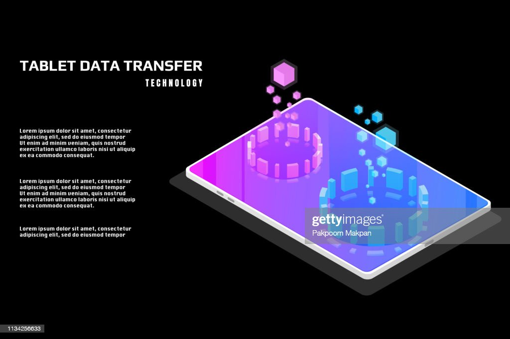 Technology futuristic tablet data security protection transfer.