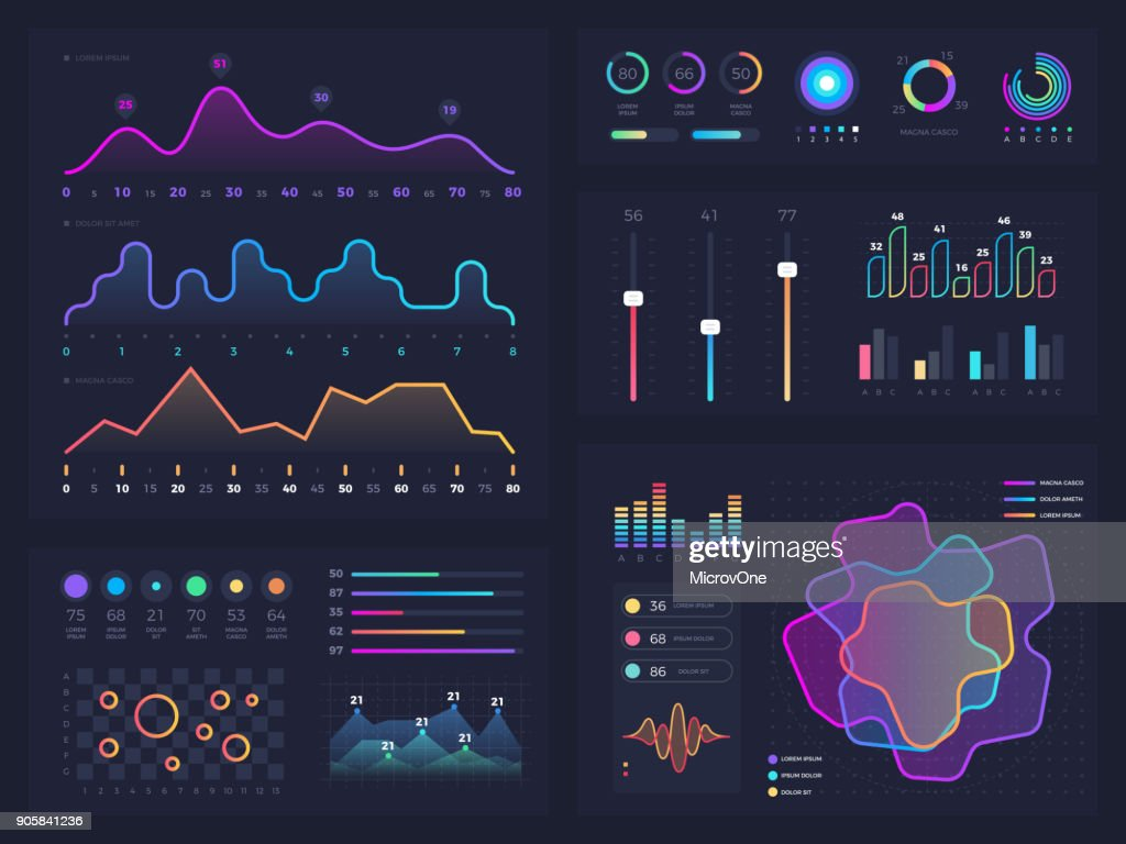 Technology graphics and diagram with options and workflow charts. Vector presentation infographic elements