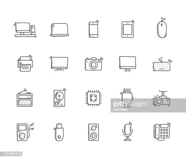 技術手描き線アイコンセット - コンピュータカメラ点のイラスト素材/クリップアート素材/マンガ素材/アイコン素材
