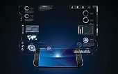 technology hologram hud interface on mobile telephone innovation