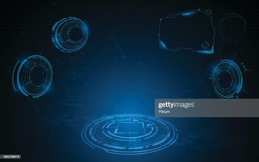 VR technology hud screen hi tech sci fi concept