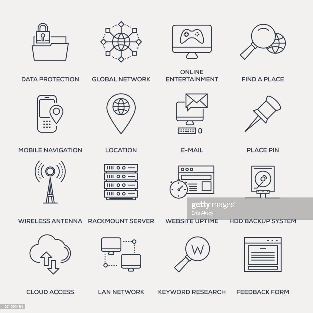Technology Icon Set - Line Series : stock illustration