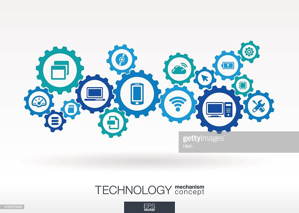 Technology integrated icons set. Vector gear mechanism connection concept illustration