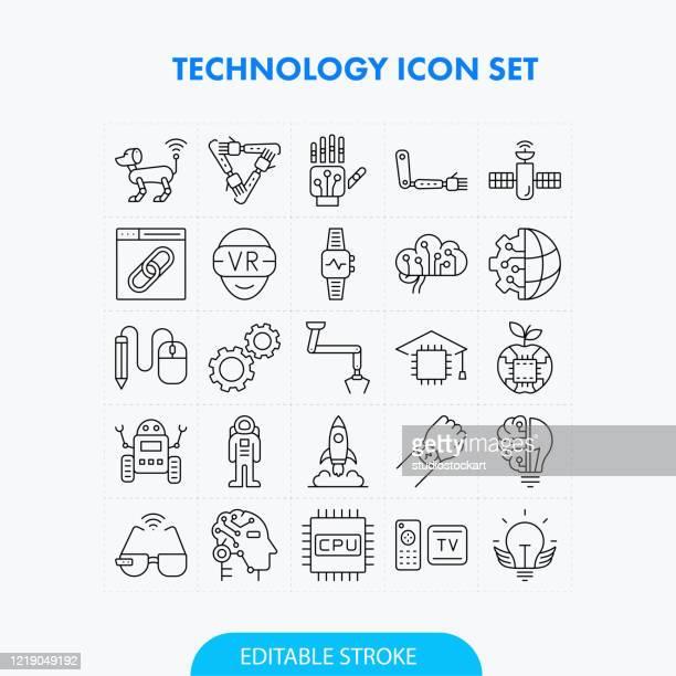 ilustraciones, imágenes clip art, dibujos animados e iconos de stock de conjunto de iconos de línea de tecnología. trazo editable - robot