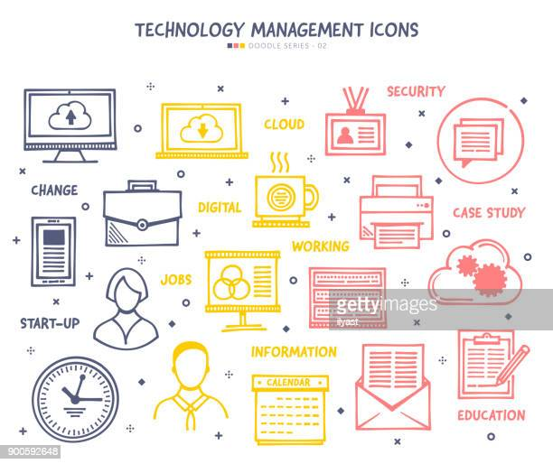 technology management icon set - sponsorship stock illustrations