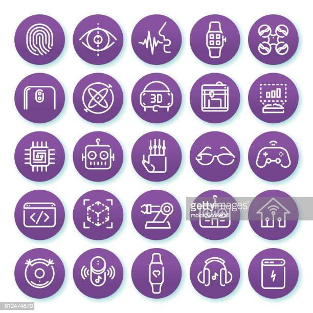 technology minimalist line icon set on a round purple background set 1