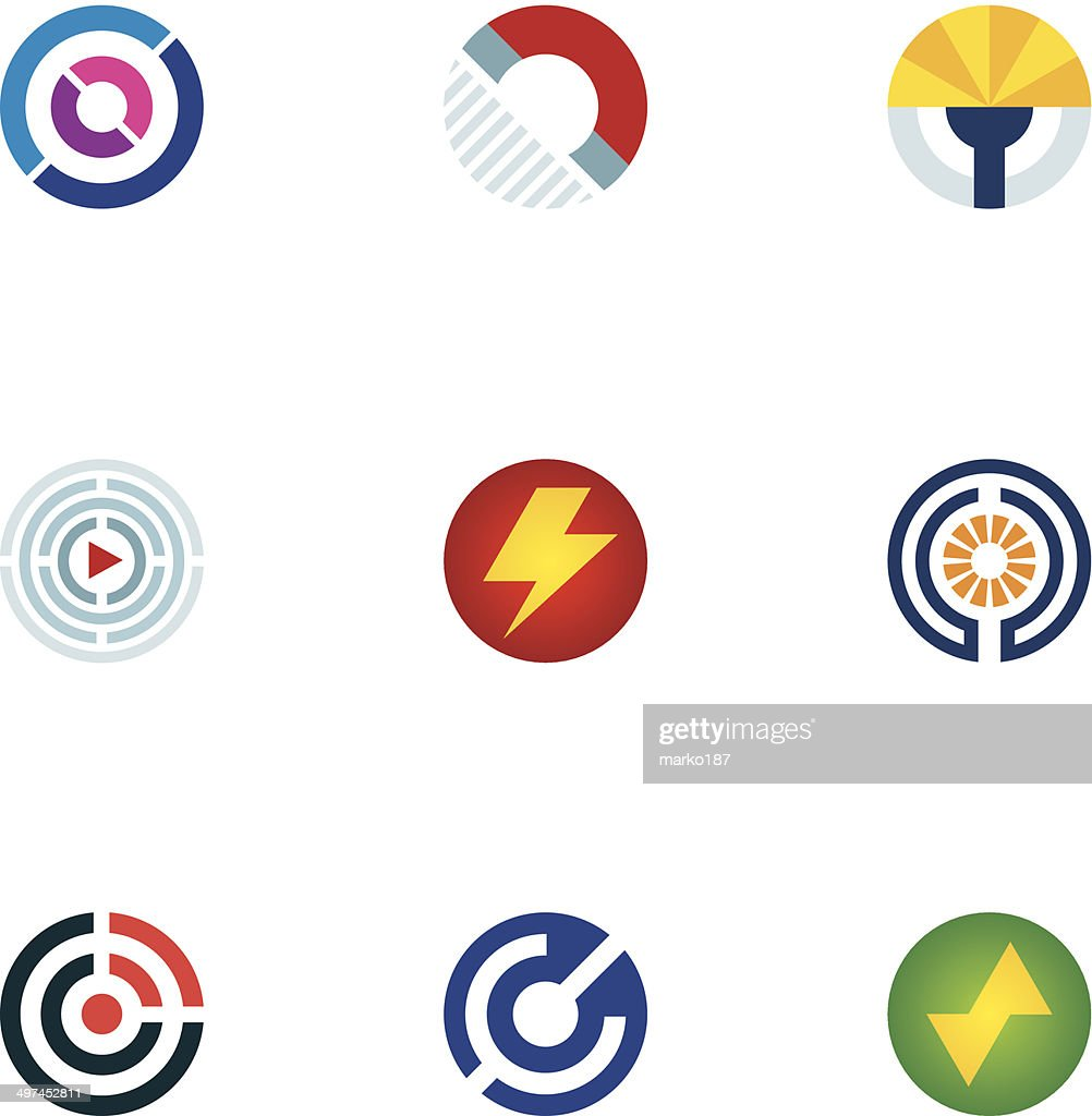 Technology power abstract circle signal wave science logo icons set