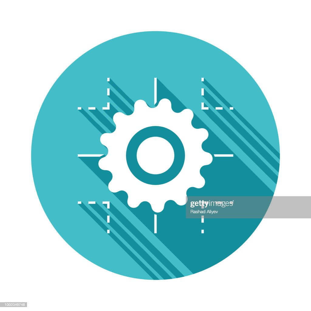 technology process icon in Flat long shadow style
