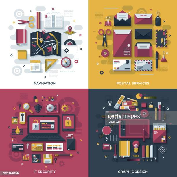 technology services flat design concepts - gift tag note stock illustrations, clip art, cartoons, & icons