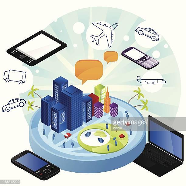technology transportation - surrounding stock illustrations, clip art, cartoons, & icons