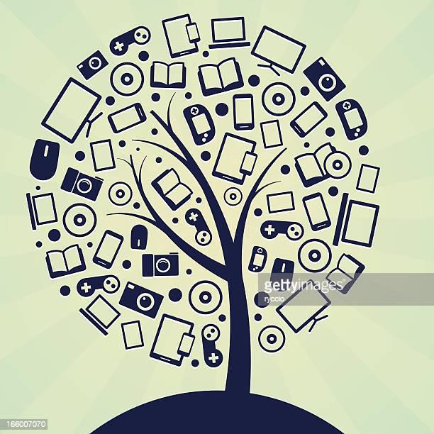 technology tree - dvd stock illustrations