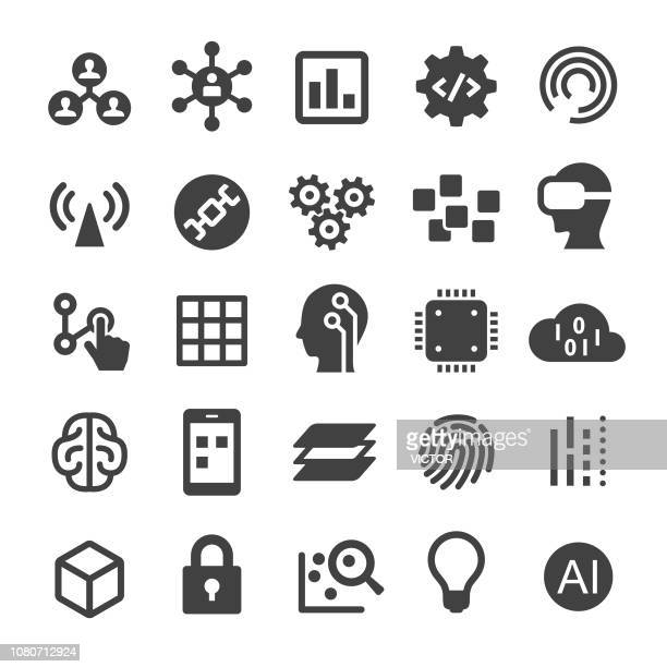technology trend icons - smart series - blockchain stock illustrations