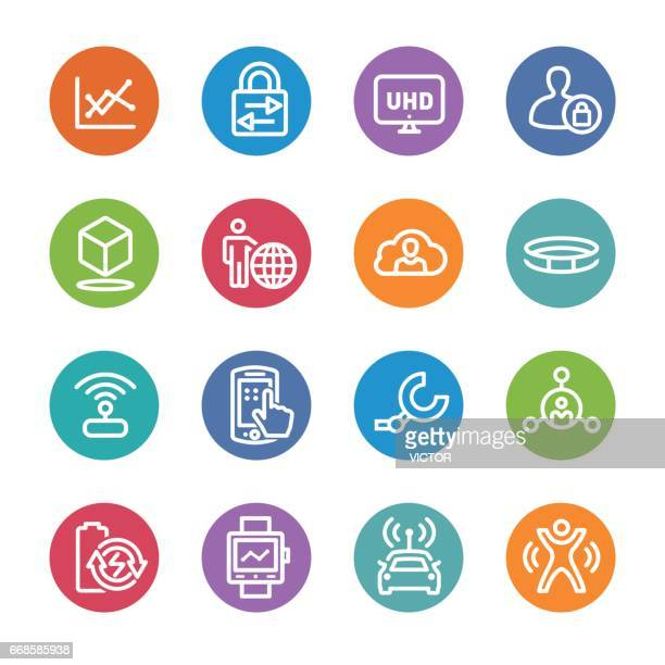 technology trends for business icons - circle line series - sensor stock illustrations, clip art, cartoons, & icons