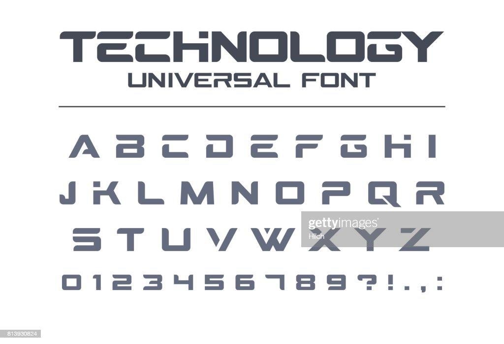 Technology universal vector font. Geometric, sport, futuristic, future techno alphabet.