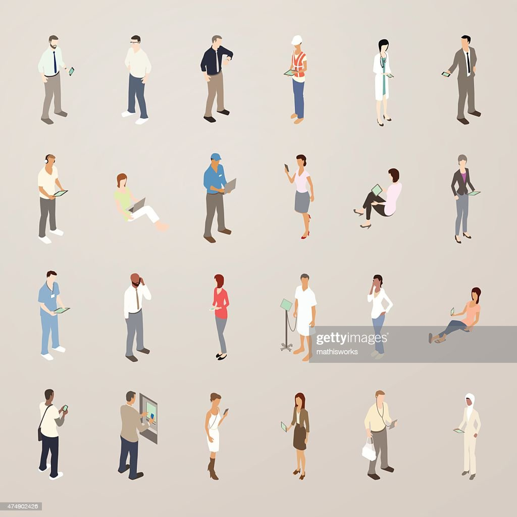 Technology Users - Flat Icons Illustration : Vector Art