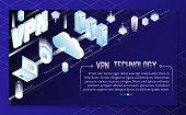VPN technology vector isometric background