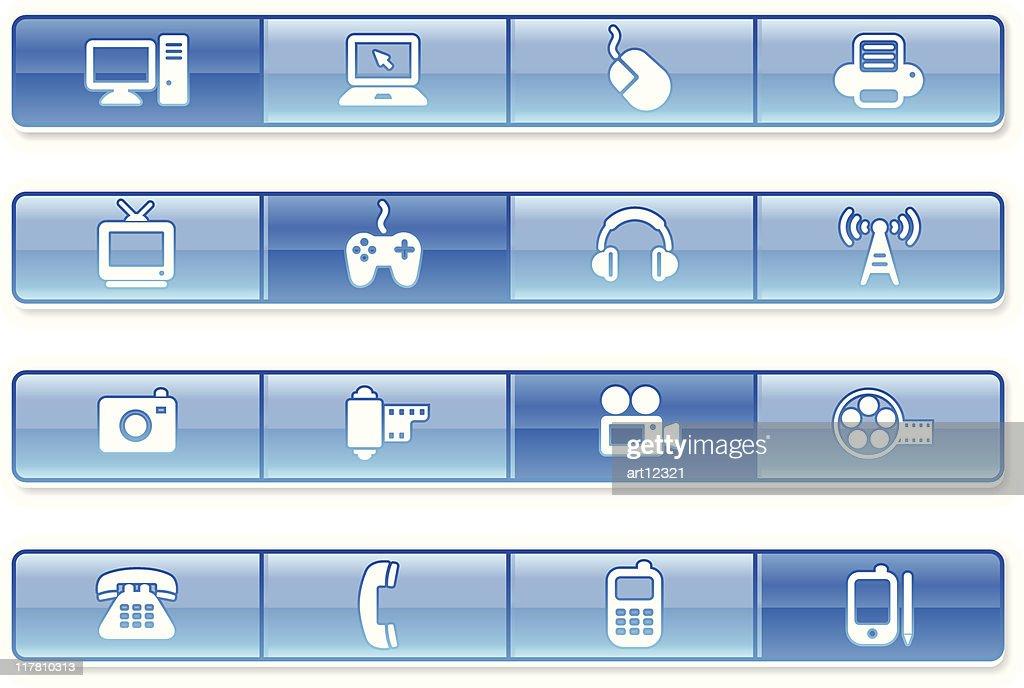 technology website navigation iconography set