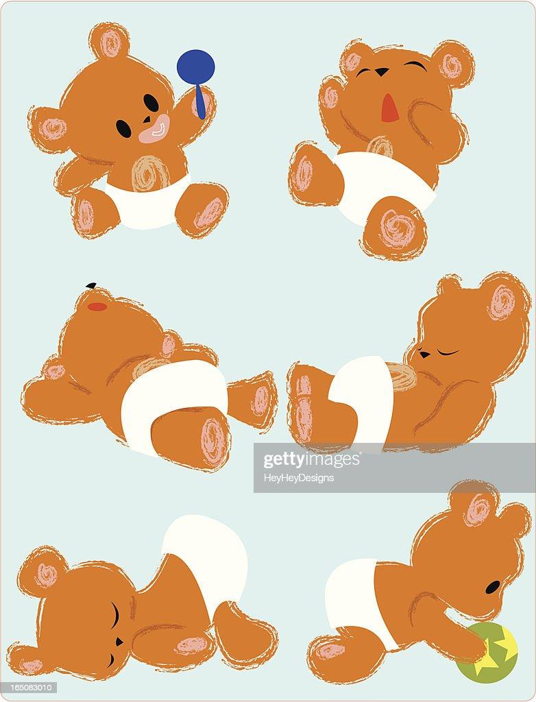 Teddy bear babies : stock illustration
