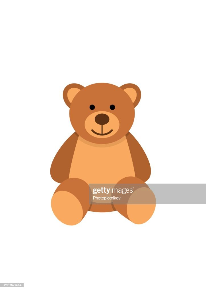 Teddy bear character isolated on white background. Soft toy in flat style