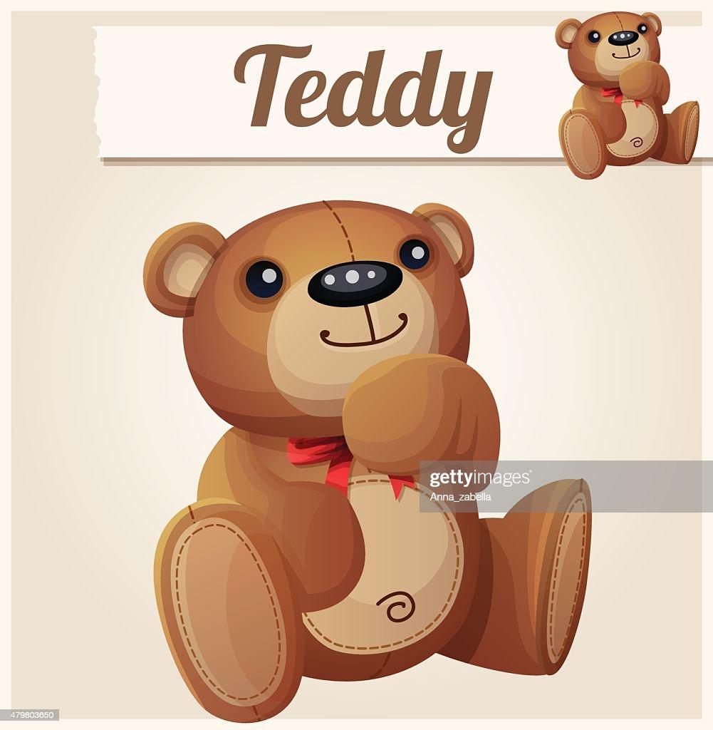 Teddy bear dreams. Cartoon vector illustration